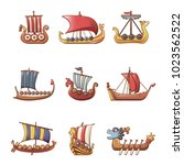 viking ship boat drakkar icons... | Shutterstock .eps vector #1023562522