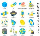 blockchain crypto money icons...   Shutterstock .eps vector #1023563092