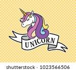 unicorn head mascot.cute magic... | Shutterstock .eps vector #1023566506
