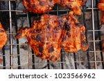 fresh chicken breast meat with... | Shutterstock . vector #1023566962