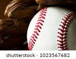 closeup of baseball ball | Shutterstock . vector #1023567682