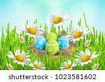 easter card. painted easter...   Shutterstock . vector #1023581602
