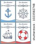 sea adventure set of four... | Shutterstock .eps vector #1023582748
