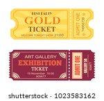 best party gold ticket art... | Shutterstock .eps vector #1023583162