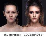 caucasian woman before after ... | Shutterstock . vector #1023584056