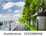 beautiful rooftop garden.... | Shutterstock . vector #1023588448