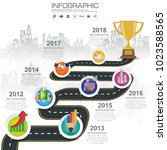 timeline infographic road map... | Shutterstock .eps vector #1023588565