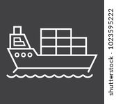 cargo ship line icon  logistic... | Shutterstock .eps vector #1023595222