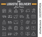 logistic thin line icon set ... | Shutterstock .eps vector #1023595426
