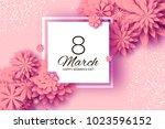 pink paper cut flower. 8 march. ... | Shutterstock .eps vector #1023596152