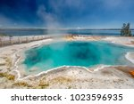 hot thermal spring black pool... | Shutterstock . vector #1023596935