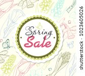 spring sale background with... | Shutterstock .eps vector #1023605026