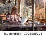 pretty freelancer tall woman...   Shutterstock . vector #1023605125