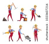 characters set of miners.... | Shutterstock .eps vector #1023607216