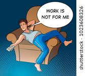 lazy guy watching tv pop art... | Shutterstock .eps vector #1023608326