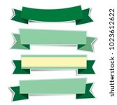 green ribbon banners sticker... | Shutterstock .eps vector #1023612622