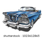vintage blue car | Shutterstock .eps vector #1023612865
