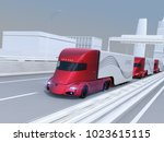a fleet of metallic red self... | Shutterstock . vector #1023615115