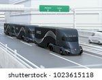 a fleet of black self driving... | Shutterstock . vector #1023615118