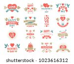 labels and symbols of loves. st ... | Shutterstock .eps vector #1023616312