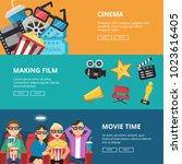horizontal banners at cinema...   Shutterstock .eps vector #1023616405