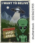 ufo poster. i want to belive.... | Shutterstock .eps vector #1023621955