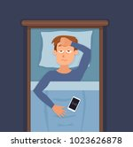 sleepless man face cartoon... | Shutterstock .eps vector #1023626878