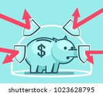 piggy bank stands in force... | Shutterstock .eps vector #1023628795