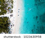 aerial view of a beach in tulum ... | Shutterstock . vector #1023630958