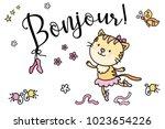 cute ballet dancer cat vector... | Shutterstock .eps vector #1023654226