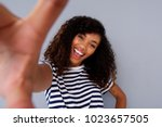 portrait of attractive african... | Shutterstock . vector #1023657505
