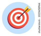 arrow in center of board. flat... | Shutterstock . vector #1023658966