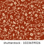 vintage floral pattern. rich... | Shutterstock . vector #1023659026