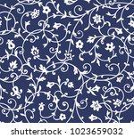 vintage floral pattern. rich... | Shutterstock . vector #1023659032