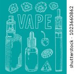 vaporizer shop. beautiful... | Shutterstock .eps vector #1023660862