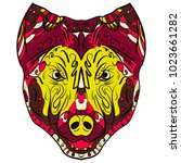 colorful dog zentangle stylized ... | Shutterstock . vector #1023661282