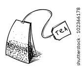 tea bag with label. hand... | Shutterstock .eps vector #102366178