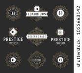 luxury logos templates set ... | Shutterstock .eps vector #1023663142