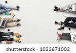 teamwork of the staff  creative ... | Shutterstock . vector #1023671002