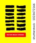 vector brush strokes set. paint ... | Shutterstock .eps vector #1023672166