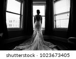 black and white silhouette of... | Shutterstock . vector #1023673405