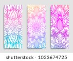 yoga mat design set. colorful... | Shutterstock .eps vector #1023674725