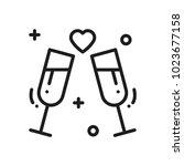 two glasses  romantic toast... | Shutterstock .eps vector #1023677158