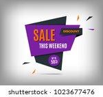 sale banner  purple discount... | Shutterstock .eps vector #1023677476