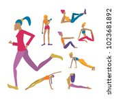 young women doing exercises ... | Shutterstock .eps vector #1023681892