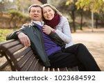 portrait of elderly boyfriend... | Shutterstock . vector #1023684592
