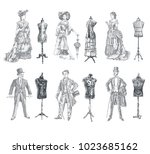 Ladies and Gentlemen body vintage mannequin set. Vintage tailor