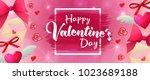 valentines day sale horizontal... | Shutterstock . vector #1023689188