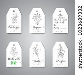 tags with herbs and wild... | Shutterstock .eps vector #1023689332