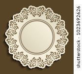 empty plate with ornamental... | Shutterstock .eps vector #1023692626
